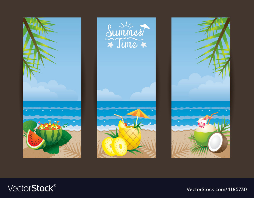 Coconut pineapple watermelon cocktail backdrop vector | Price: 3 Credit (USD $3)