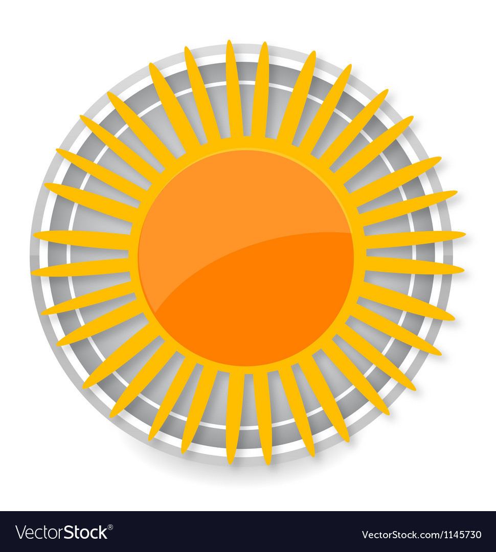 Glass sun symbol yellow color isolated vector | Price: 1 Credit (USD $1)
