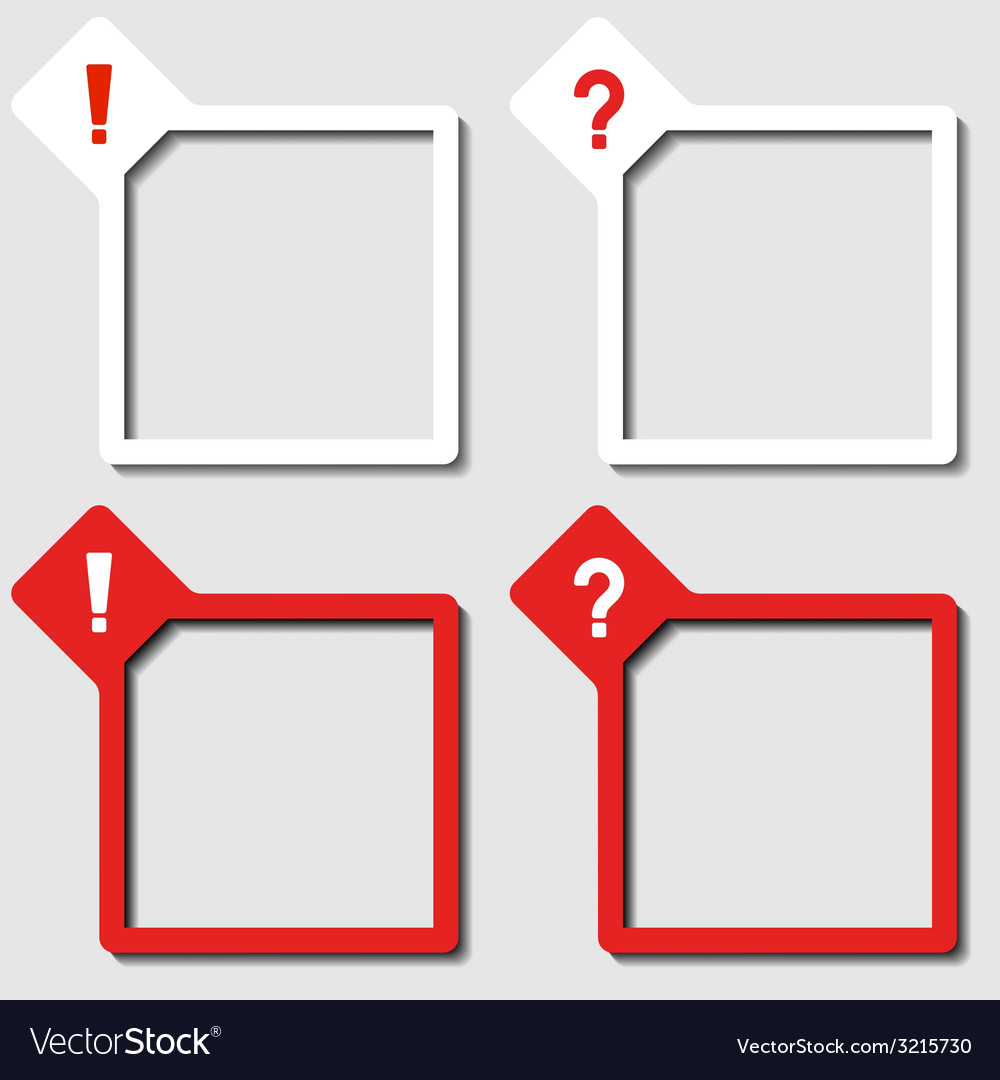 Paper frames exclamation question mark vector   Price: 1 Credit (USD $1)