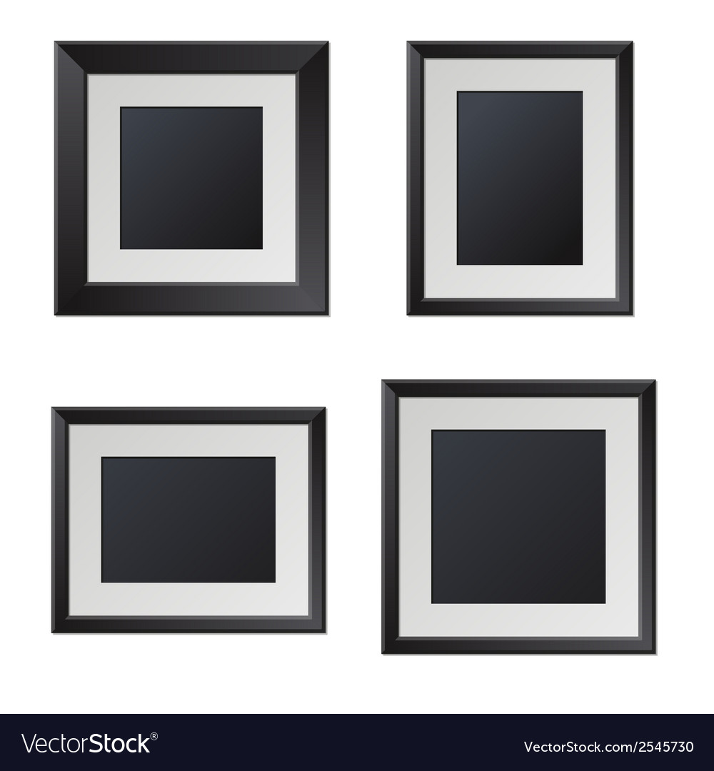 Realistic black picture frames with blank center vector | Price: 1 Credit (USD $1)
