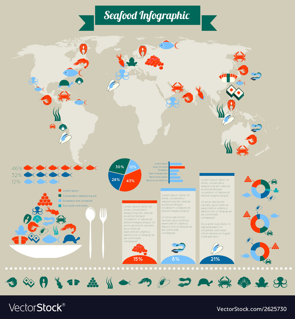 Seafood infographic vector | Price: 1 Credit (USD $1)