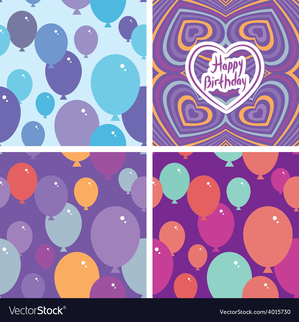 Set 3 seamless pattern with balloons and happy vector | Price: 1 Credit (USD $1)