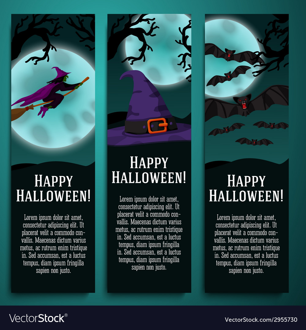 Set of halloween banners with witch hat bat vector | Price: 1 Credit (USD $1)