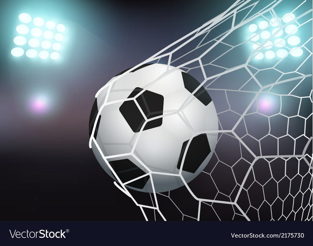 Soccer ball in the goal net on stadium with light vector | Price: 1 Credit (USD $1)