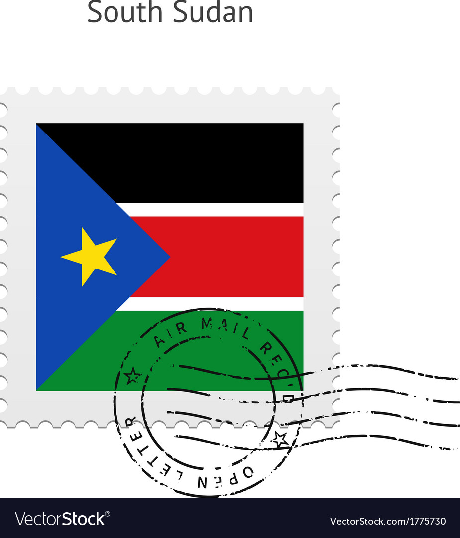 South sudan flag postage stamp vector | Price: 1 Credit (USD $1)