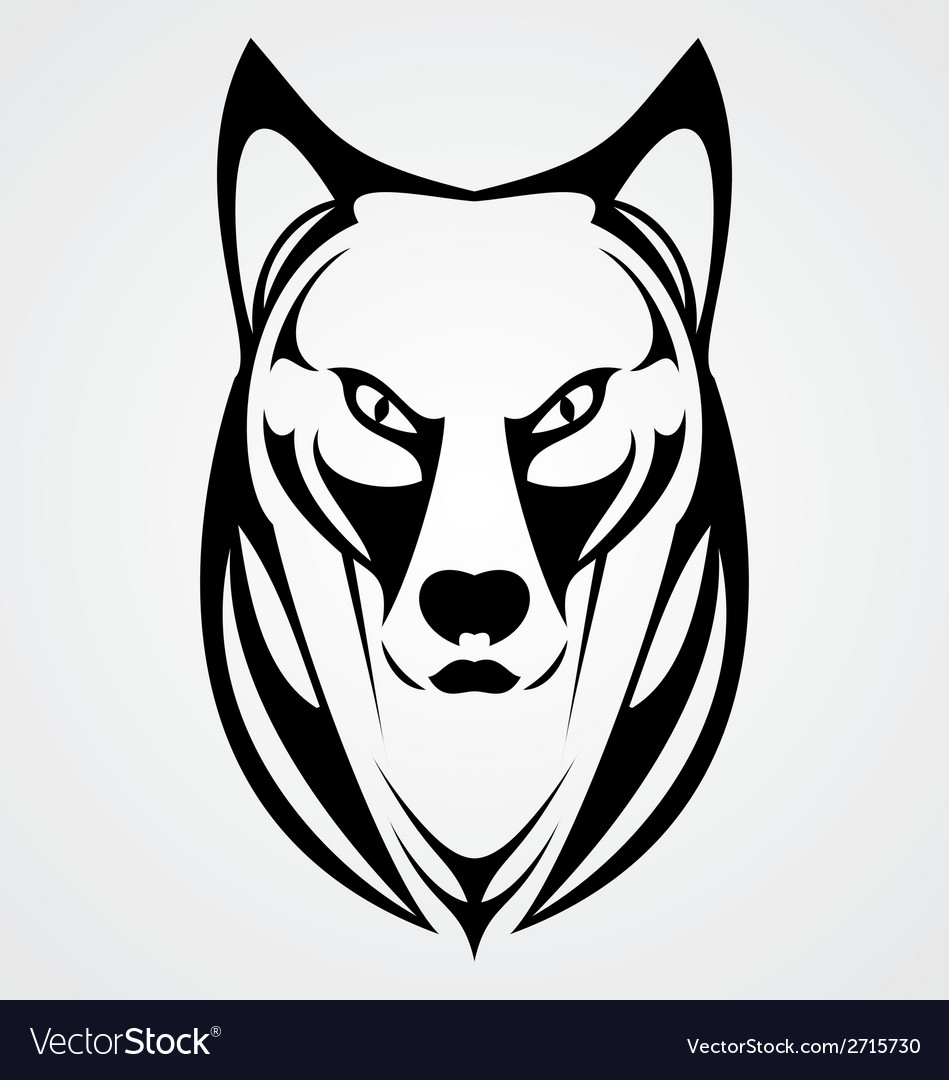 Wild dog face tribal vector | Price: 1 Credit (USD $1)