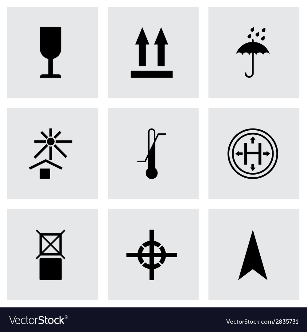 Black marking of cargo icons set vector | Price: 1 Credit (USD $1)