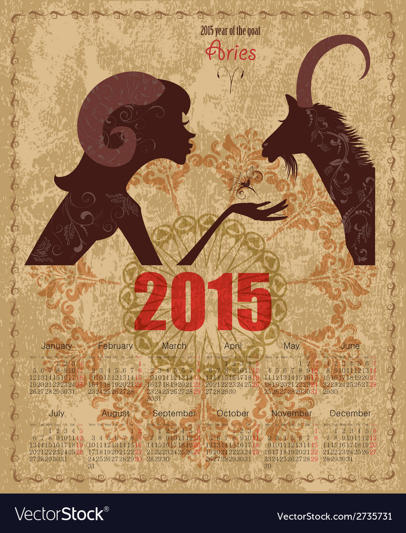 Calendar for 2015 year with a goat and zodiac sign vector   Price: 1 Credit (USD $1)