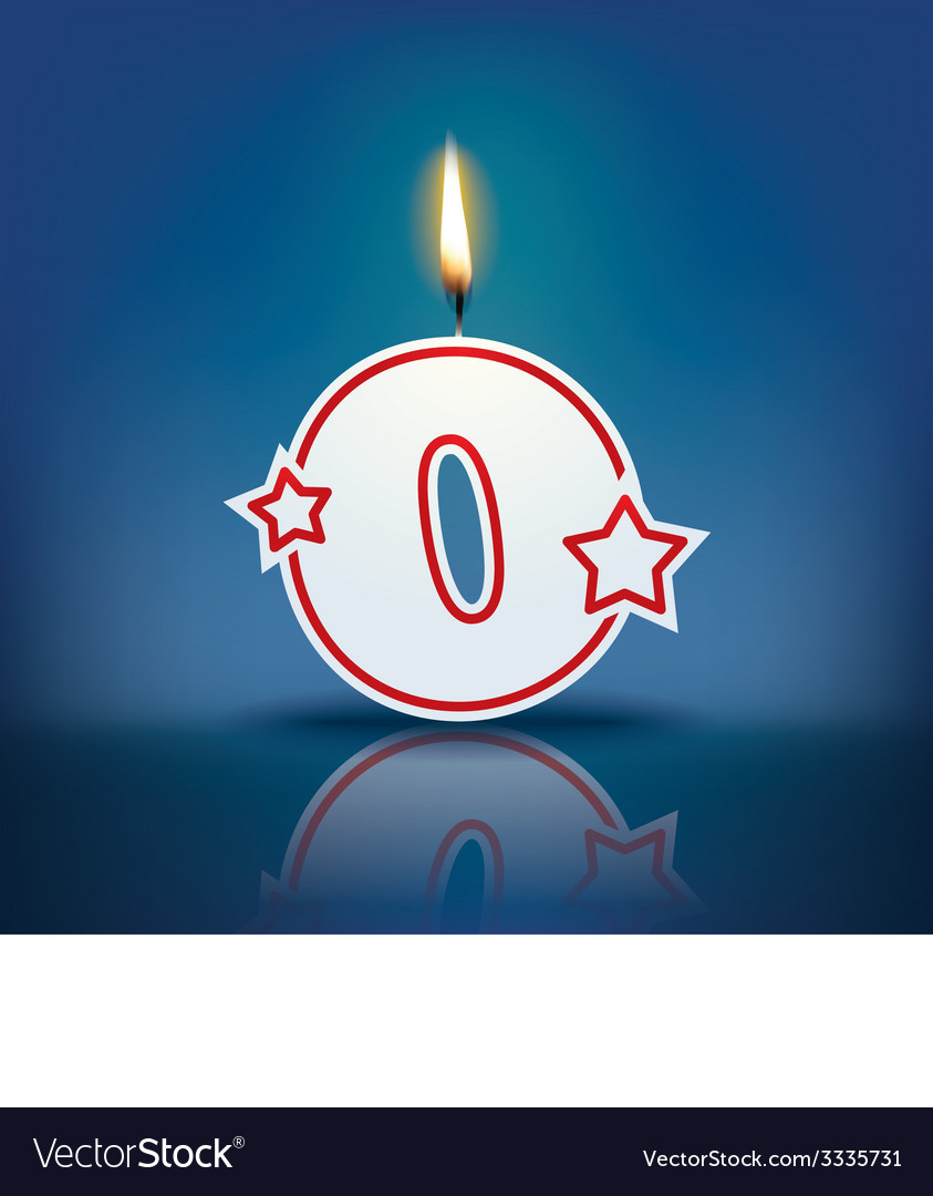 Candle number 0 with flame vector | Price: 1 Credit (USD $1)