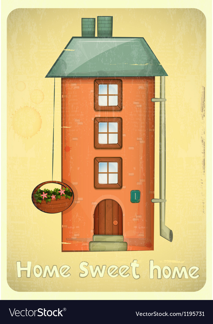 Cartoon houses postcard vector | Price: 1 Credit (USD $1)