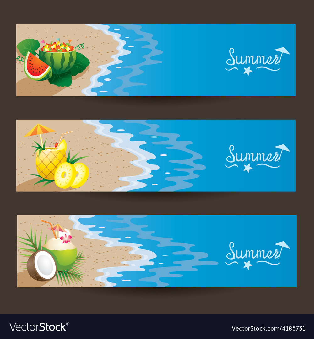 Coconut pineapple watermelon cocktail banner vector | Price: 3 Credit (USD $3)
