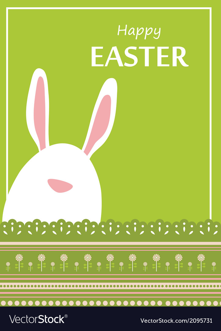 Easter bunny looking out a green retro background vector | Price: 1 Credit (USD $1)