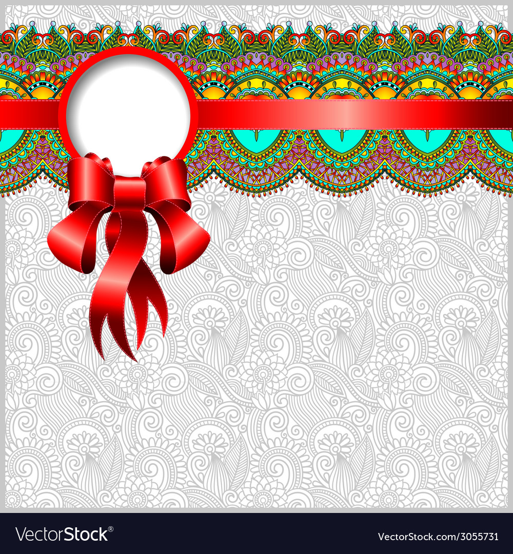Ethnic ornamental pattern with silk ribbon vector | Price: 1 Credit (USD $1)