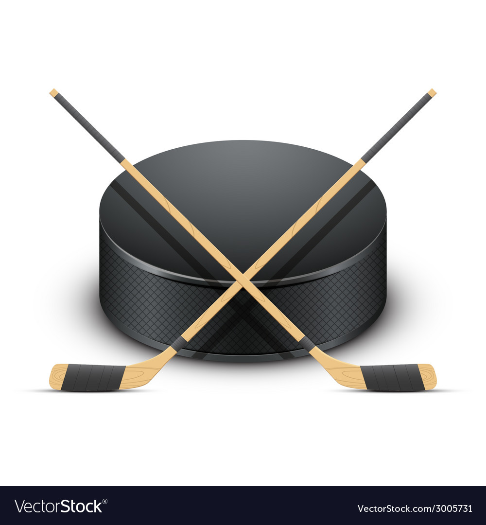 Ice hockey puck and sticks vector | Price: 1 Credit (USD $1)