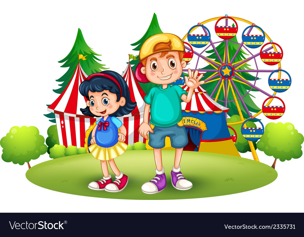 Kids in front of the carnival vector | Price: 3 Credit (USD $3)