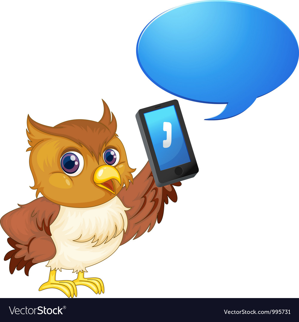 Owl with cell phone vector | Price: 3 Credit (USD $3)