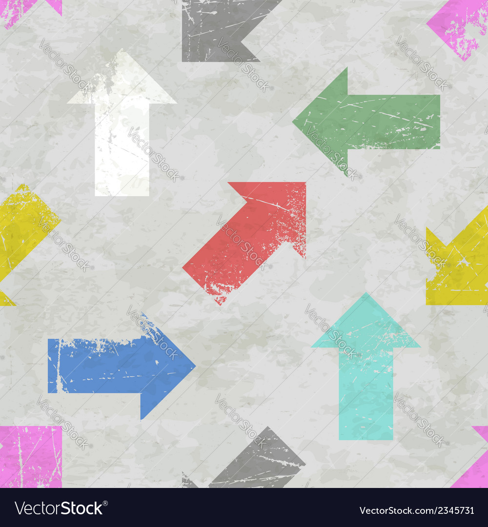 Seamless pattern with scratched colorful arrows vector | Price: 1 Credit (USD $1)
