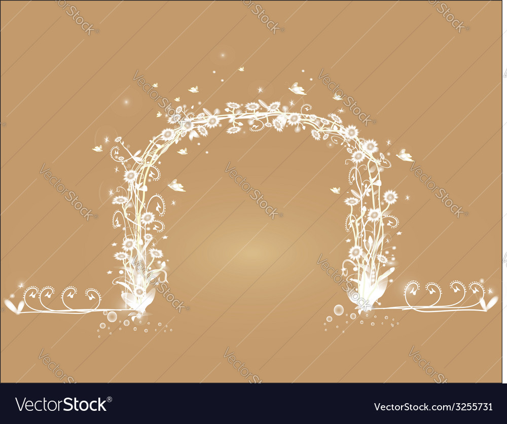 Shaped vine with white flowers vector | Price: 1 Credit (USD $1)