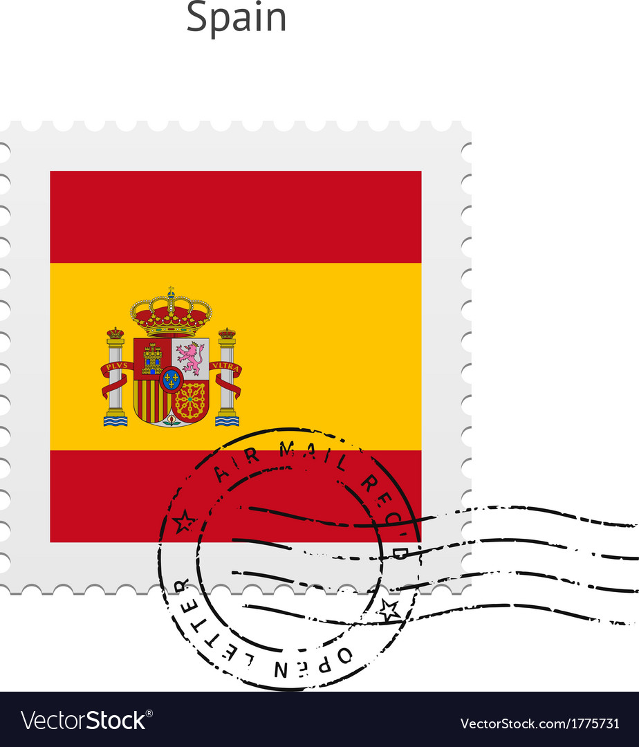 Spain flag postage stamp vector | Price: 1 Credit (USD $1)