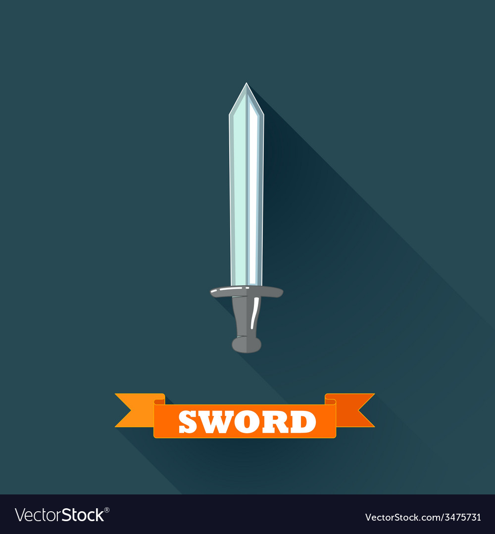 With sword in flat design with long shadow and red vector | Price: 1 Credit (USD $1)