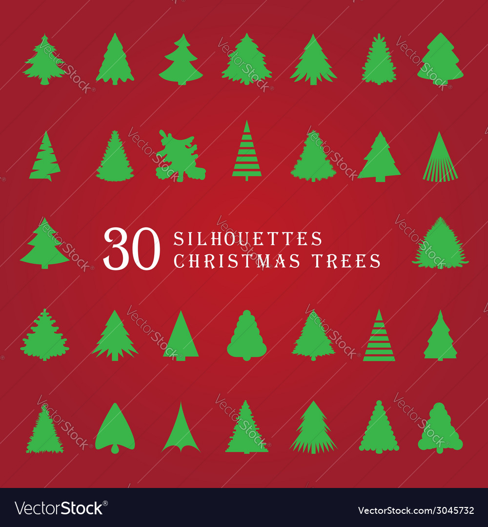30 silhouettes of christmas trees vector | Price: 1 Credit (USD $1)