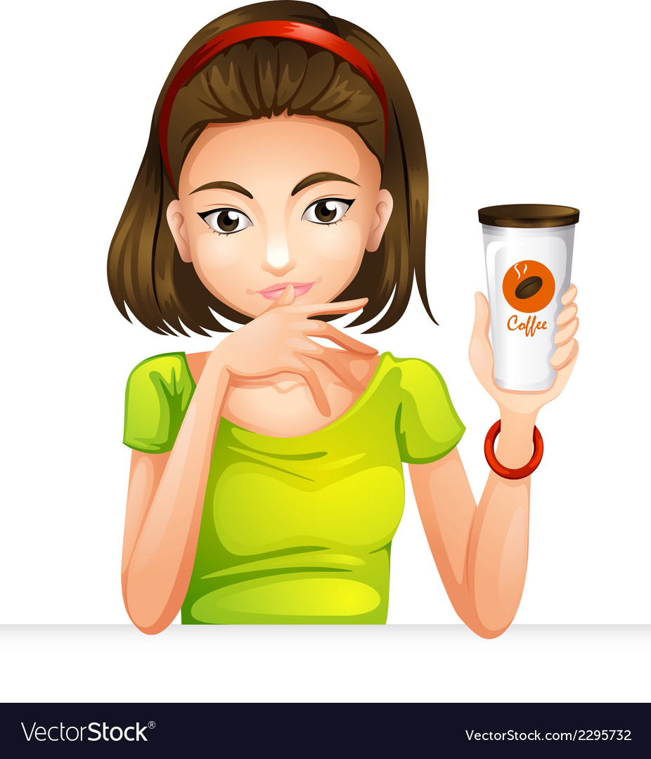 A woman holding a glass of coffee vector