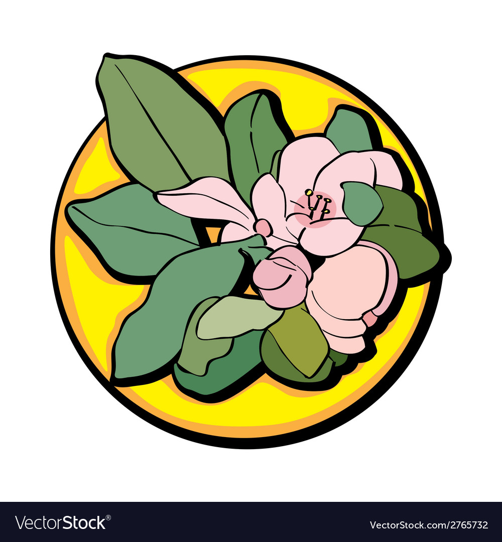 Apple flower clip art yellow vector | Price: 1 Credit (USD $1)