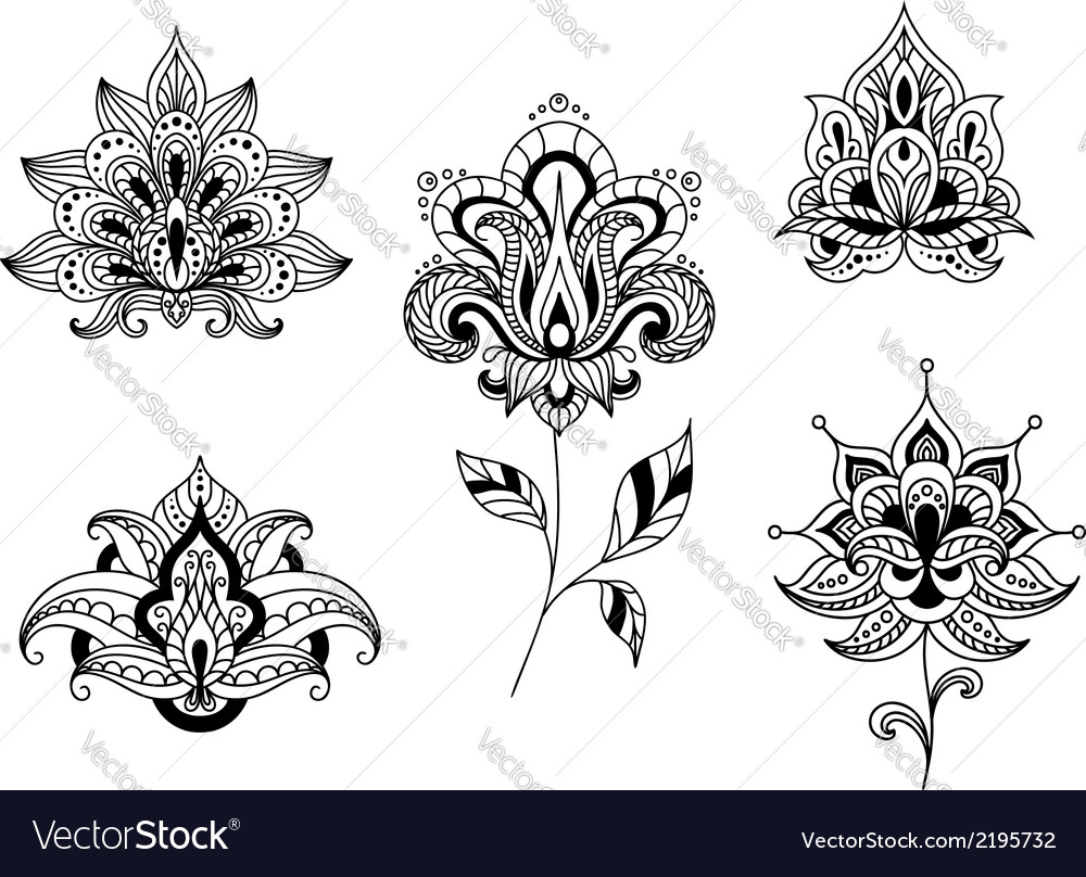 Black and white floral motifs of persian paisleys vector | Price: 1 Credit (USD $1)