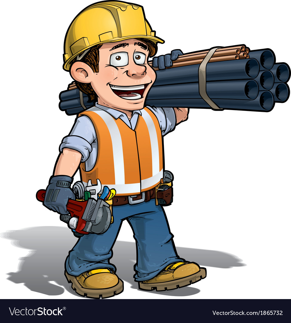 Construction worker plumber vector | Price: 3 Credit (USD $3)