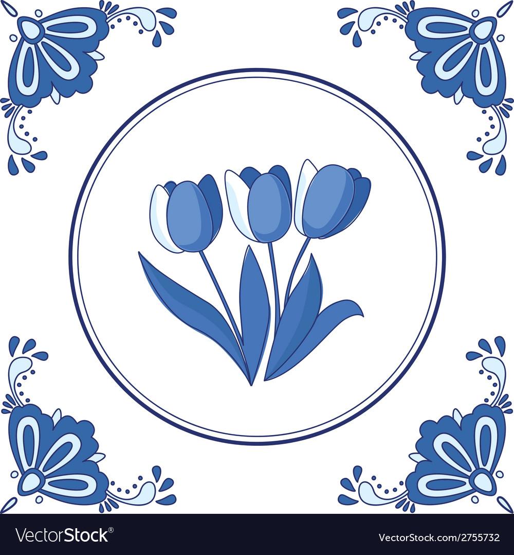 Delft blue tulips vector   Price: 1 Credit (USD $1)
