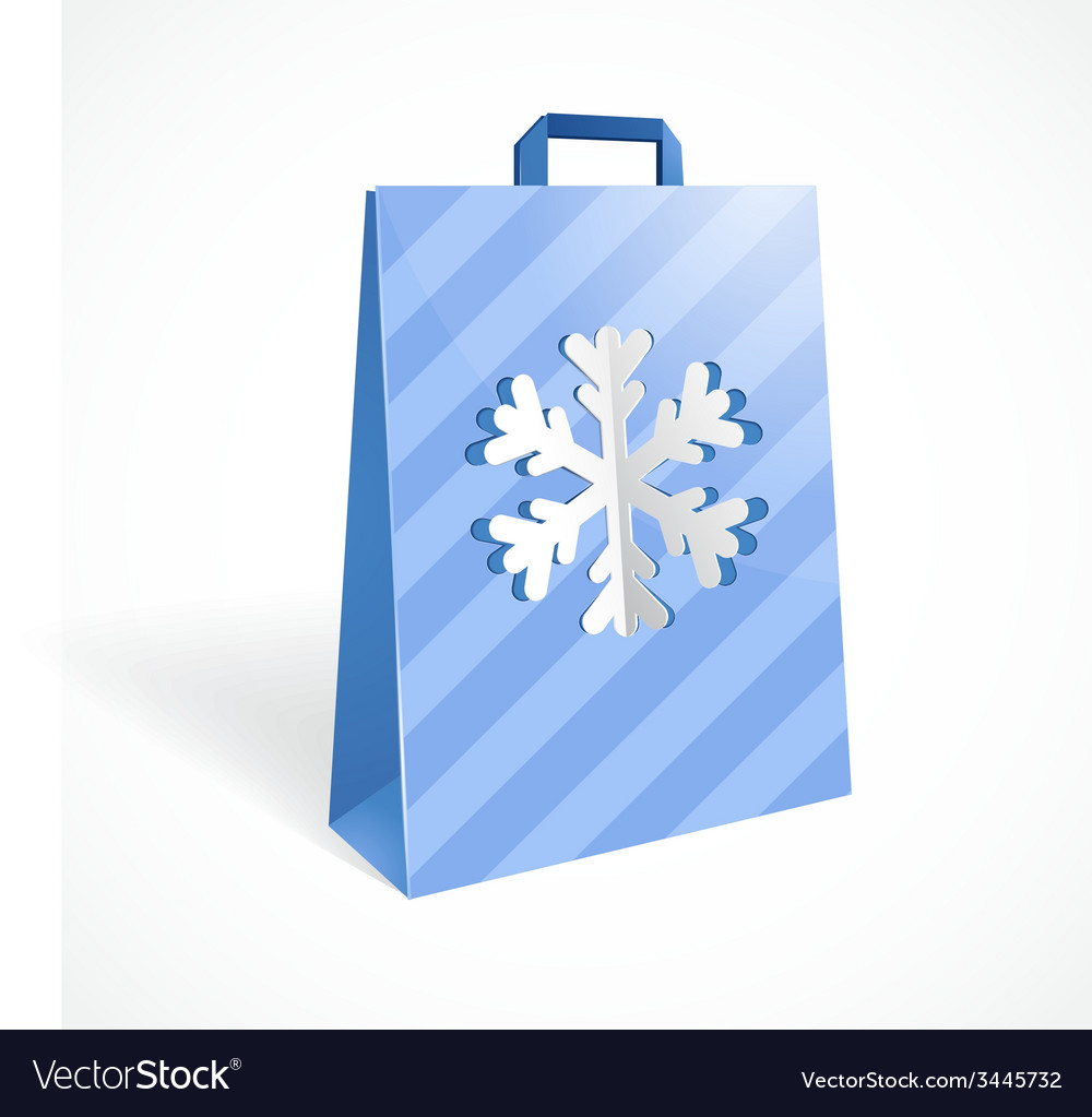 Festive paper bag with cut out snowflake for your vector   Price: 1 Credit (USD $1)