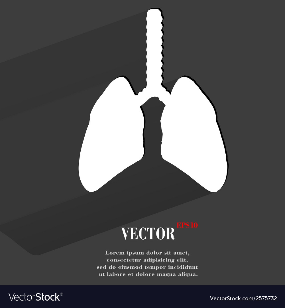 Human lung flat modern web button with long shadow vector | Price: 1 Credit (USD $1)