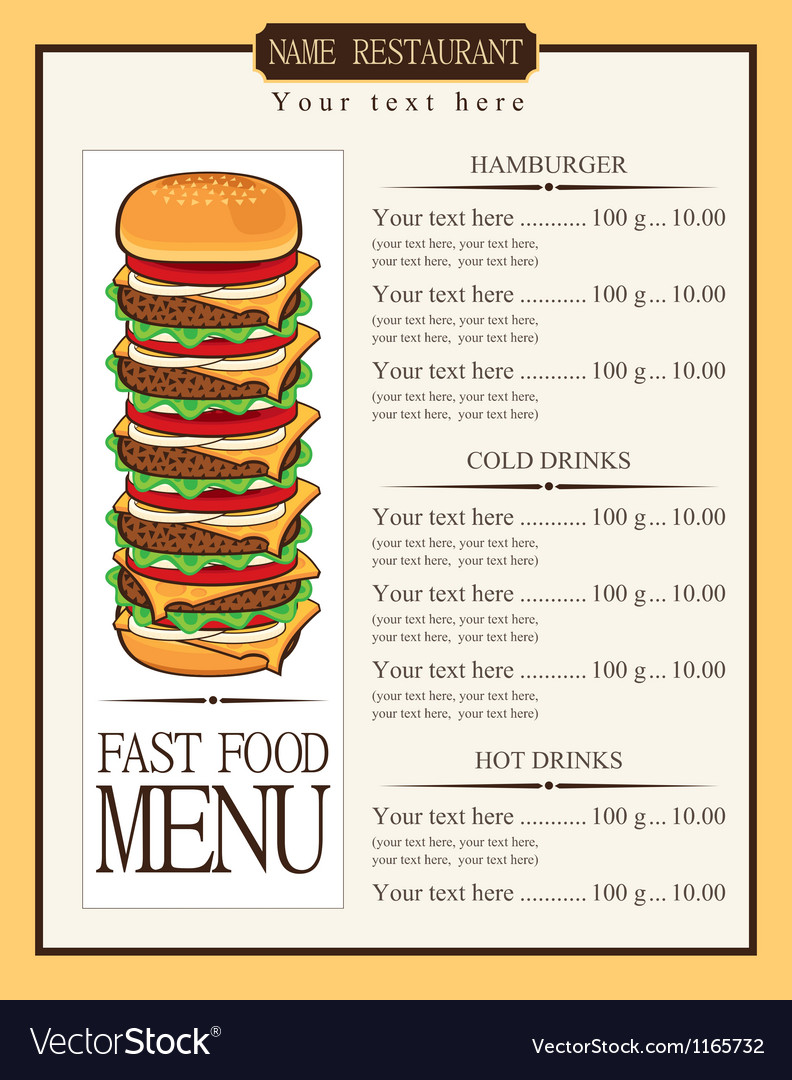 Menu for fast food vector | Price: 1 Credit (USD $1)