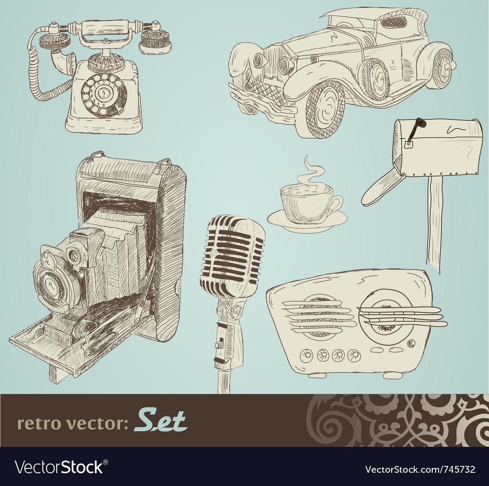 Retro doodle set vector | Price: 1 Credit (USD $1)