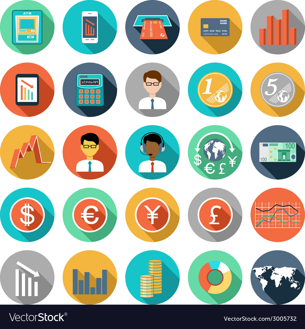 Set of flat design icons with financial infographi vector | Price: 1 Credit (USD $1)