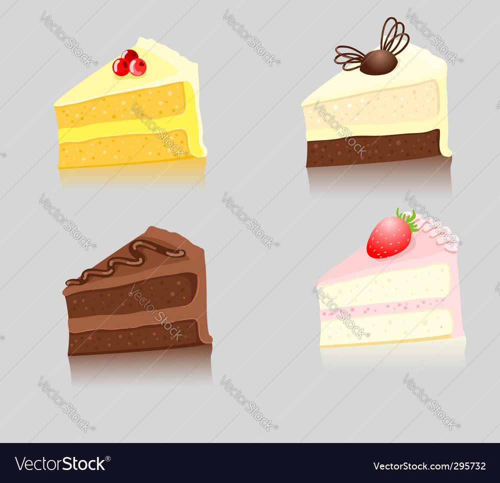 Slices of cake vector | Price: 1 Credit (USD $1)