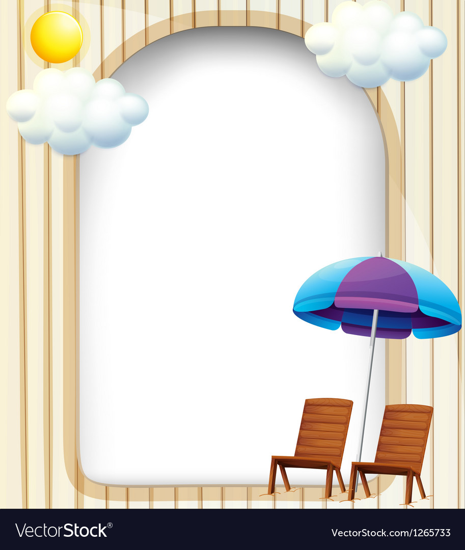 An empty entrance template with a beach umbrella vector | Price: 1 Credit (USD $1)
