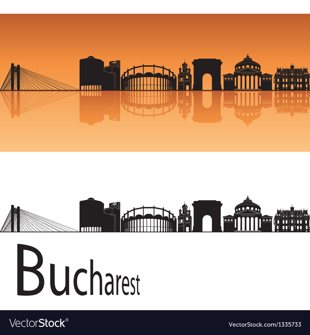 Bucharest skyline in orange background vector | Price: 1 Credit (USD $1)