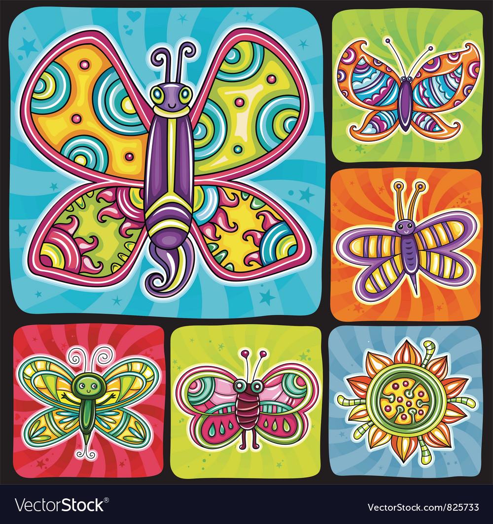 Cartoon butterflies set vector | Price: 3 Credit (USD $3)