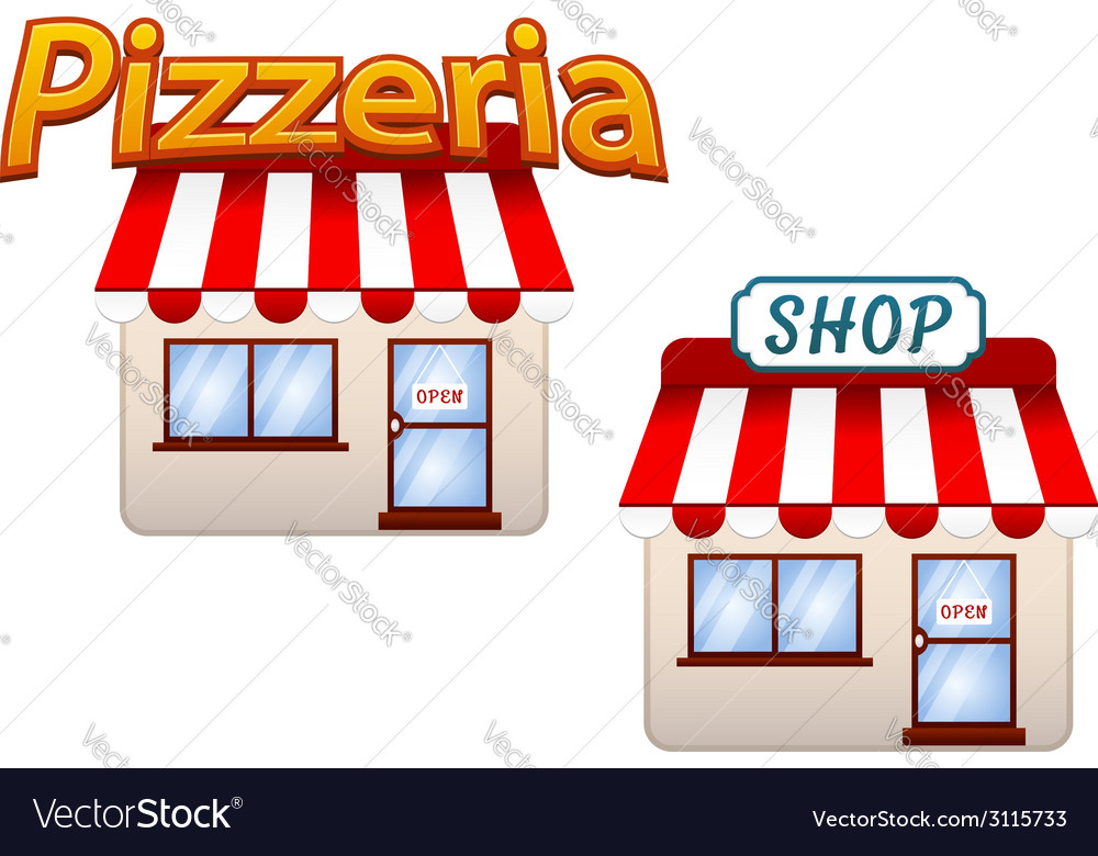 Cartoon shop and pizzeria icons vector | Price: 1 Credit (USD $1)