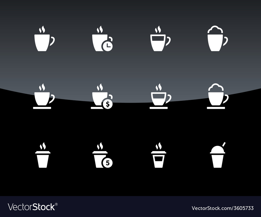 Cup icons on black background vector | Price: 1 Credit (USD $1)