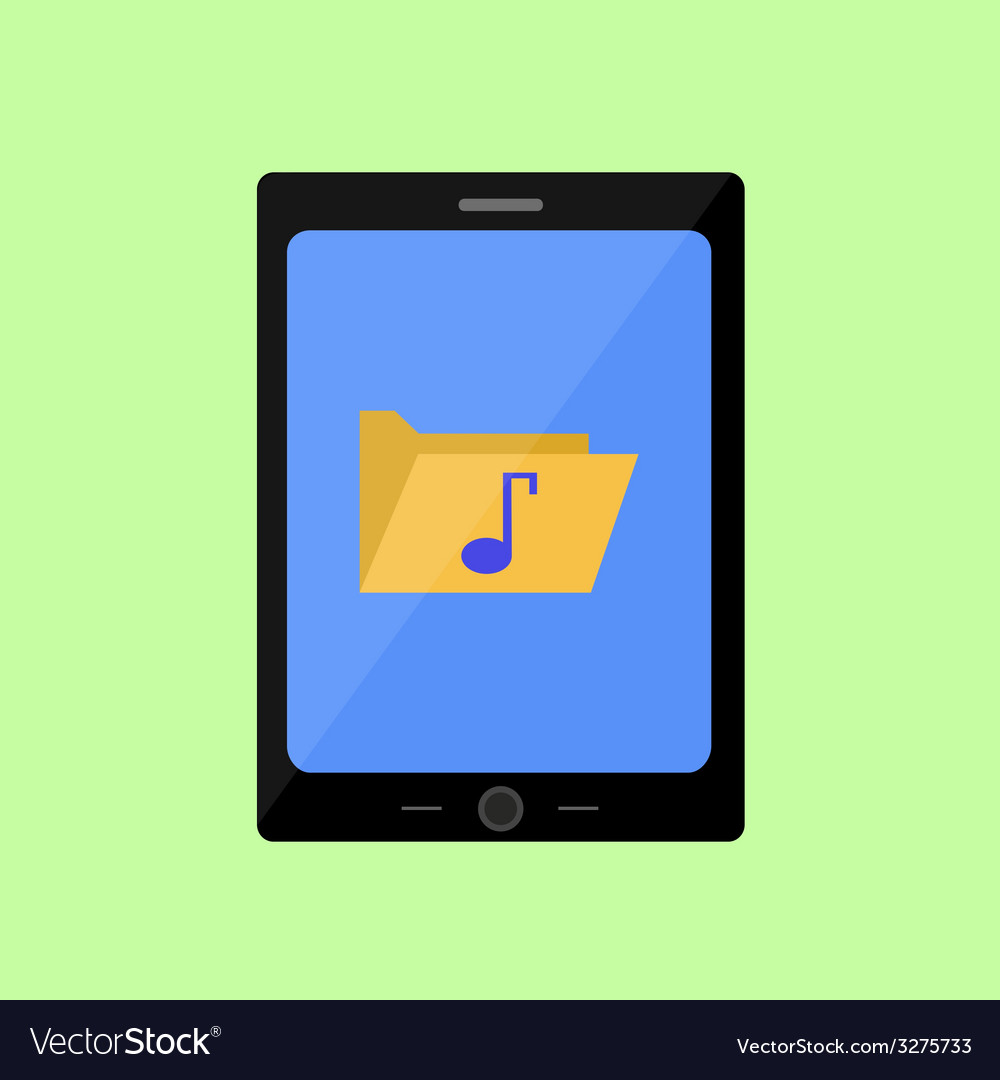 Flat style touch pad with music folder vector | Price: 1 Credit (USD $1)