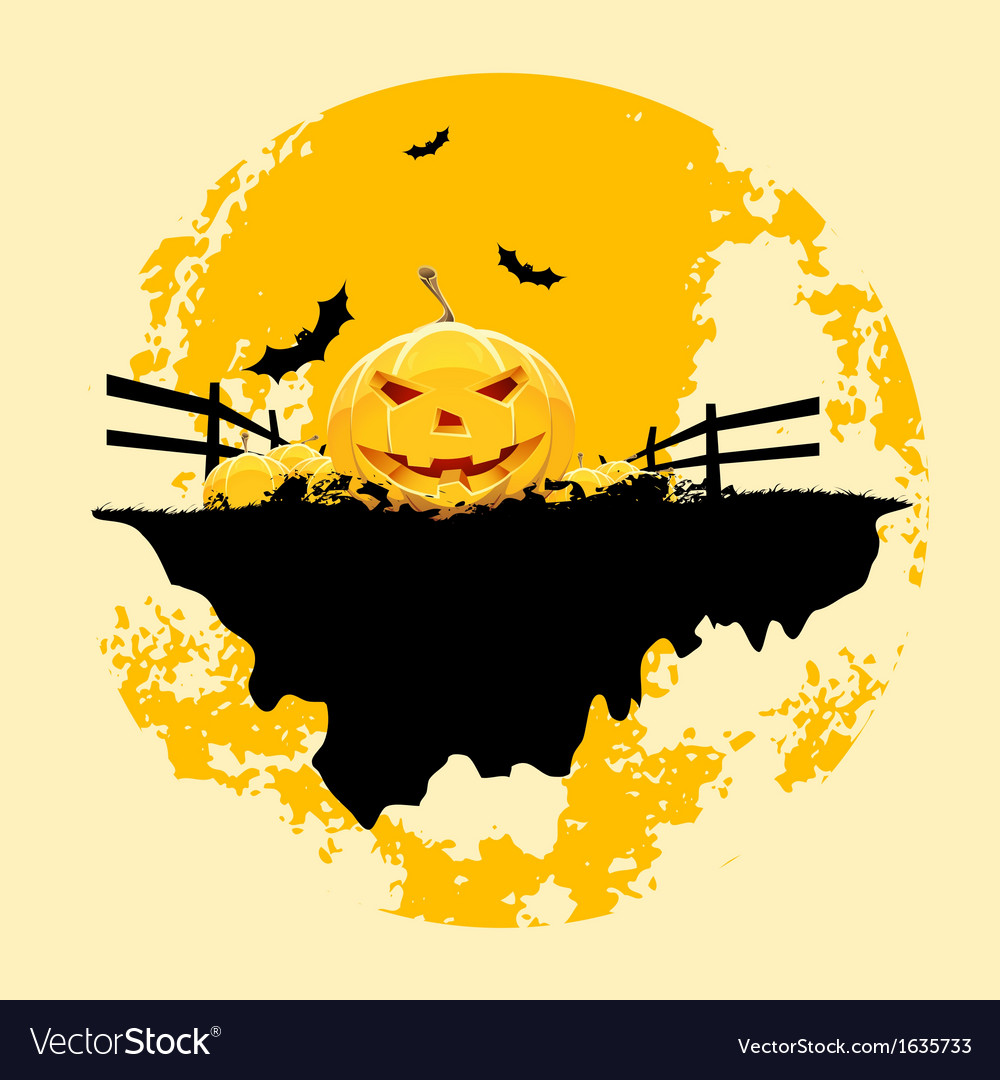 Grungy halloween background with pumpkins and bats vector | Price: 1 Credit (USD $1)