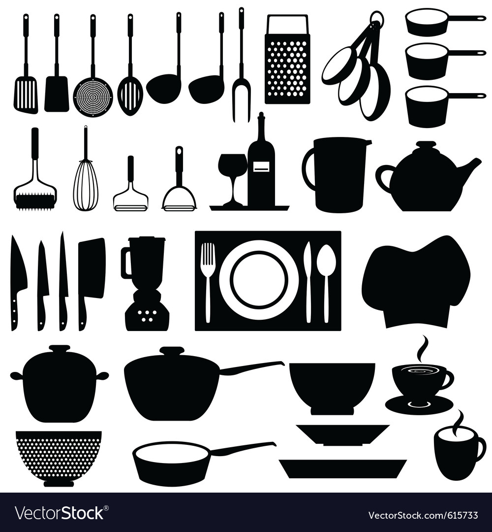 Kitchen silhouettes vector | Price: 1 Credit (USD $1)