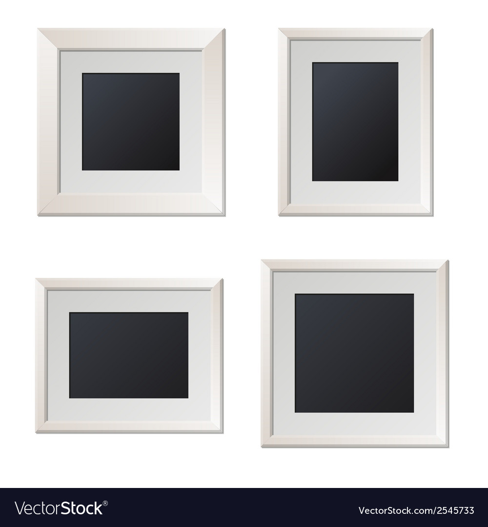 Realistic white picture frames with blank center vector | Price: 1 Credit (USD $1)