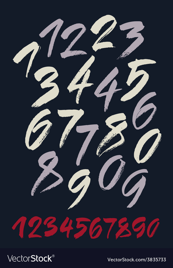 Set of calligraphic acrylic or ink numbers vector | Price: 1 Credit (USD $1)
