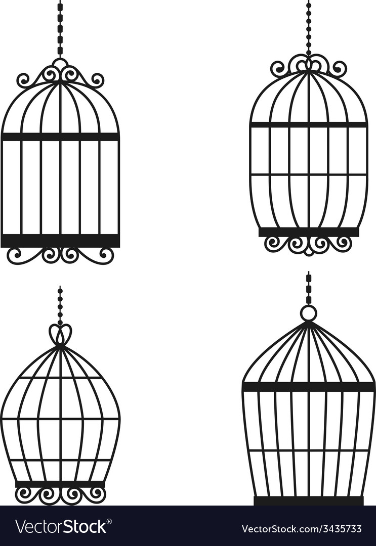 Silhouette birdcages collection set vector | Price: 1 Credit (USD $1)