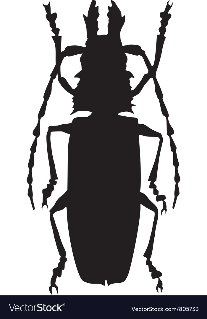 Silhouette of giant beetle vector | Price: 1 Credit (USD $1)