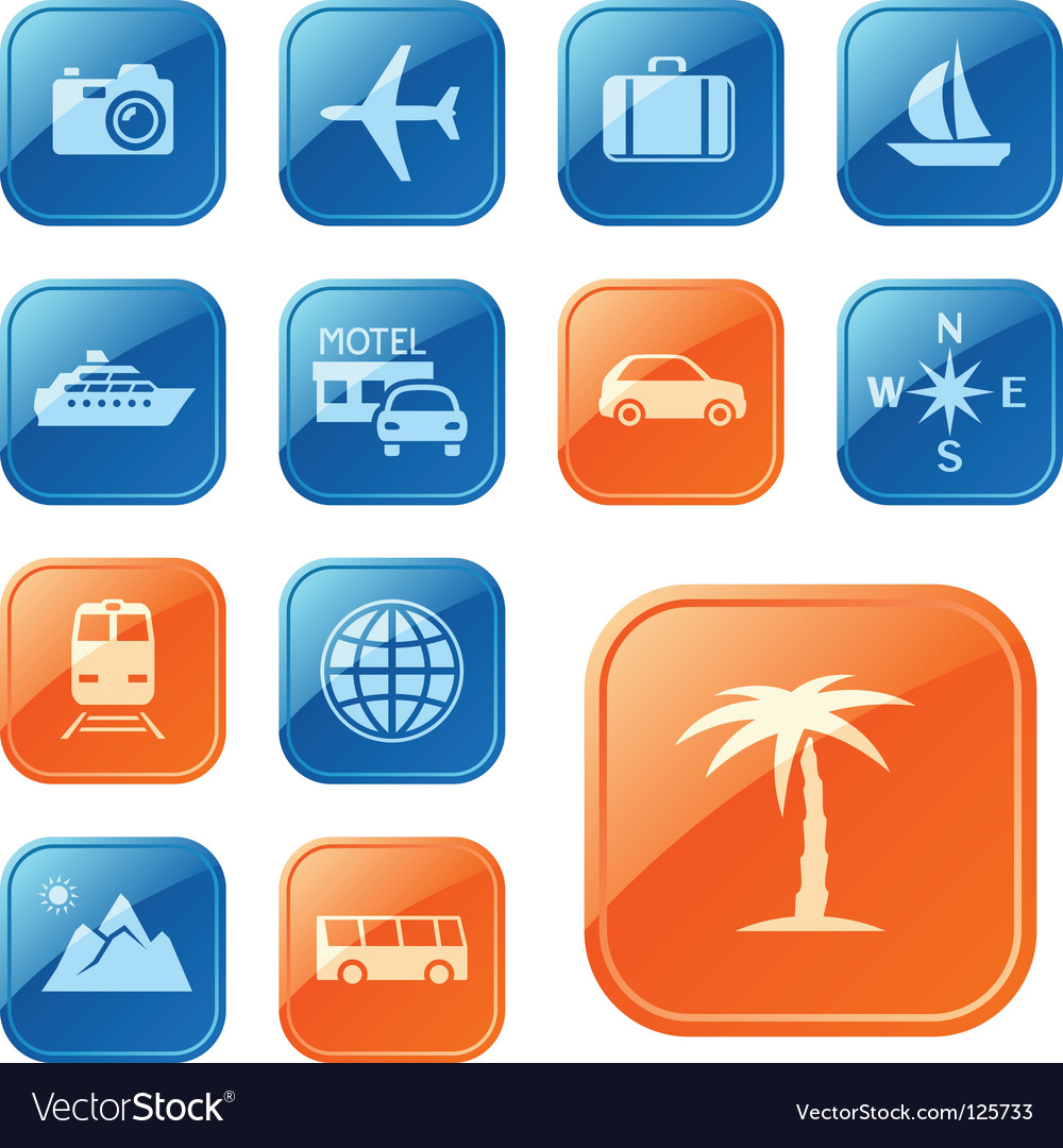 Travel icons buttons vector | Price: 1 Credit (USD $1)