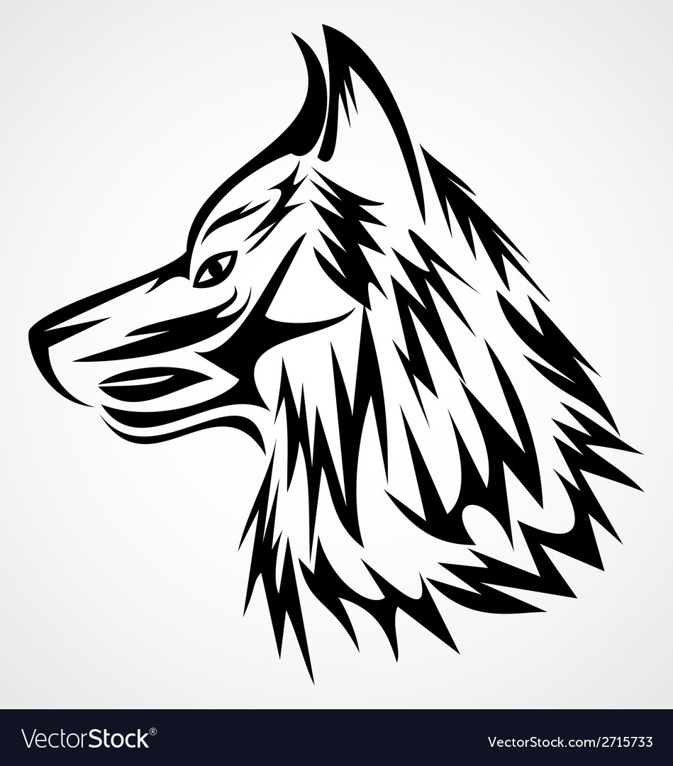 Wolf head tattoo design vector | Price: 1 Credit (USD $1)